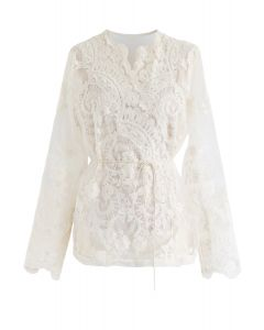 Creamy Full Embroidery Sheer Wrap Top