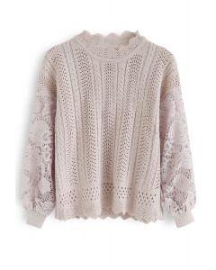 Eyelet Trim Crochet Sleeves Knit Top in Pink