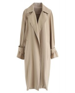 Open Front Trench Coat in Khaki