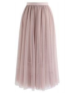 Beads Embellishment Tulle Mesh Skirt in Pink