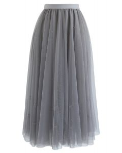 Beads Embellishment Tulle Mesh Skirt in Grey