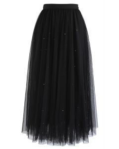 Beads Embellishment Tulle Mesh Skirt in Black