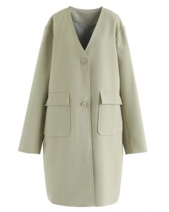 V-Neck Pockets Longline Coat in Moss Green