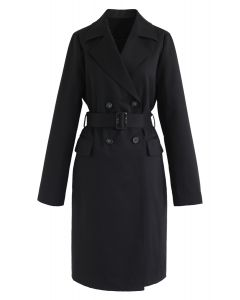 Texture Belted Double-Breasted Coat in Black