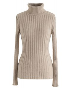 Fitted Turtleneck Fluffy Knit Sweater in Camel