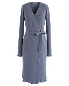 Self-Tied Bowknot Wrap Knit Midi Dress in Dusty Blue