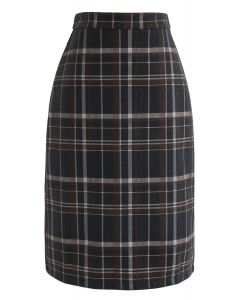 Slit Hem Plaid Shift Pencil Skirt in Brown