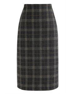 Slit Hem Plaid Shift Pencil Skirt in Smoke