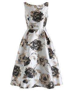 Golden Blossom Jacquard Sleeveless Midi Dress