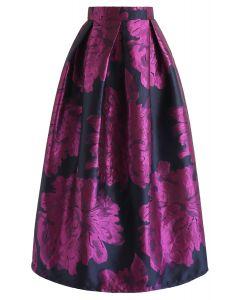 Peony Jacquard Midi Skirt in Violet
