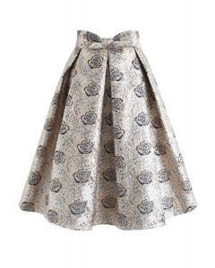 Golden Rose Bowknot Jacquard Pleated Skirt