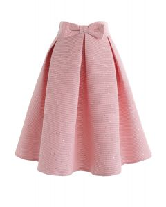 Sweet Your Heart Bowknot Sequins Pleated Skirt in Pink