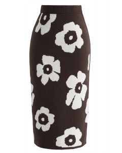 Painting Flower Pencil Knit Skirt in Brown