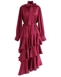 Ruffle Asymmetric Satin Maxi Dress in Red