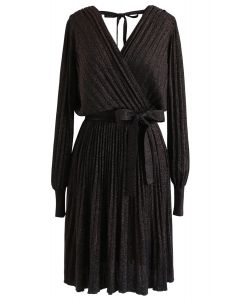 Shiny Pleated Wrap Dress in Black