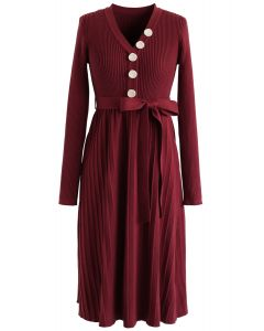 Wine V-Neck Buttoned Pleated Knit Dress