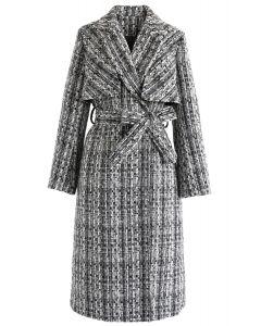 Tweed Buttoned Longline Coat with Belt