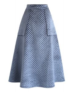 Pockets Quilted Velvet A-Line Midi Skirt in Dusty Blue