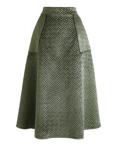 Pockets Quilted Velvet A-Line Midi Skirt in Army Green