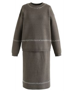 Slant Lines Trim Knit Top and Skirt Set in Olive