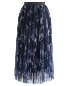 Watercolor Double-Layered Mesh Tulle Skirt in Navy