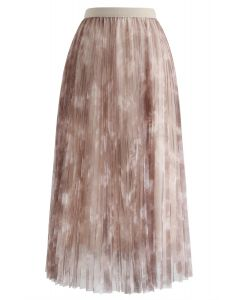 Watercolor Double-Layered Mesh Tulle Skirt in Tan