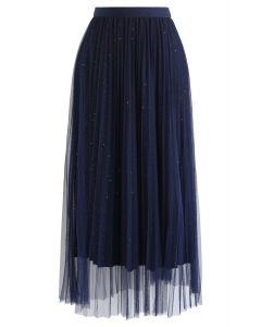Shimmer Lining Mesh Tulle Pleated Skirt in Navy