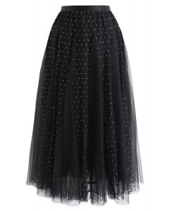 Sequined Double-Layered Mesh Tulle Midi Skirt in Black