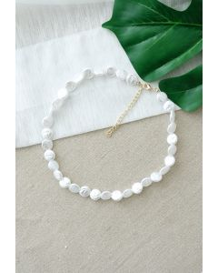 White Plastic Coin Pearls Necklace