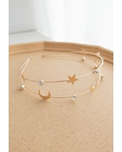 Moon and Star Golden Headband