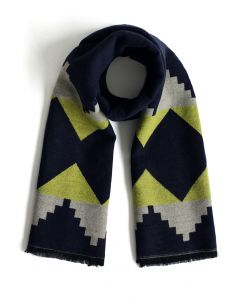 Geo Fun Woolen Scarf in Navy
