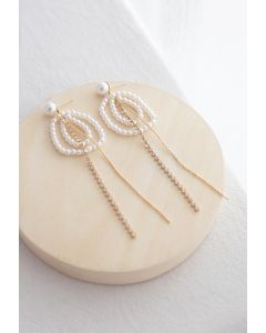 Circle Beads Crystal Chain Pearl Earrings