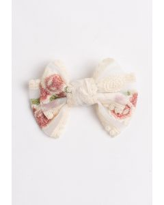 Embroidery Mesh Medium Bow Barrette
