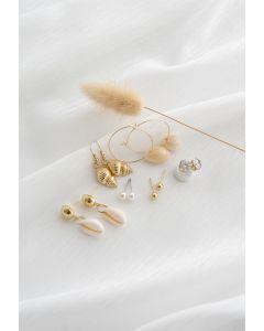 6-Pack Cowrie Shell Diamante Pearl Stud and Hoop Earrings