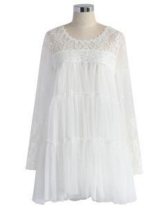 Hermoso Vestido Blanco de Tul y Gasa