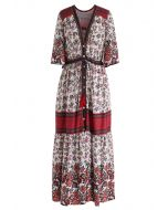 Floral Boho Drawstring Button Down Maxi Dress