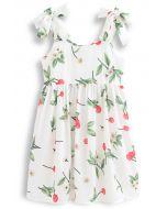 Cherry Print Tie Shoulder Midi Dress for Kids