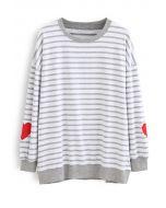 Grey Stripes Heart Patchwork Sweatshirt