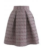 Shimmery Embossed Check Pleated Skirt in Wine