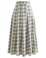 High-Waisted Tartan Flare Skirt in Olive