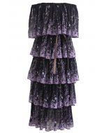 Lavender Printed Pleated Off-Shoulder Tiered Dress in Black