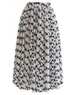 Velvet Floret and Dot Midi Skirt in Ivory