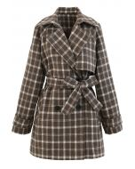 Double-Breasted Plaid Wool-Blend Coat in Brown