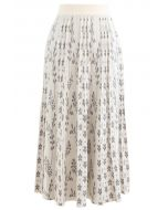 Floret Pleated Knit Midi Skirt in Ivory
