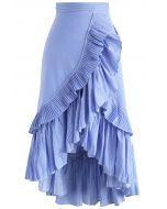 Falda de Tiempos y Volantes en el Dobladillo con Rayas Azules