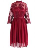 Vestido de gasa de malla bordada alegre momento en rojo