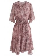 Bomb of Love Floral Chiffon Dress in Pink