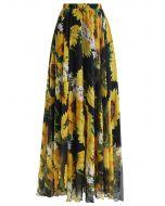 Falda larga en acuarela de girasol floreciente en negro