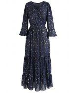 Vestido largo estampado Glory of Love Star en azul marino
