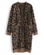 Cárdigan largo con bolsillo de leopardo en marrón